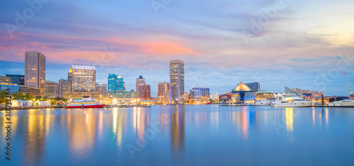 Fotomurales View of Inner Harbor area in downtown Baltimore Maryland USA