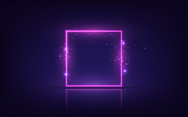 Neon frame. Shining square banner. Isolated on transparent background. Wall mural