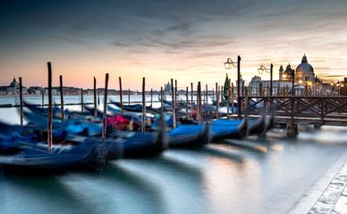 Foto op Canvas Gondolas Venice Gondolas moored at the San Marco square.