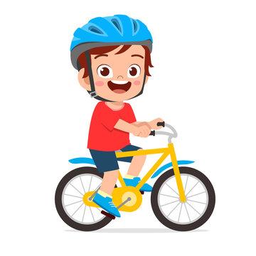 happy cute kid boy riding bike smile
