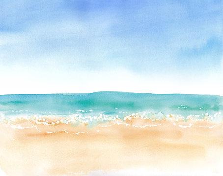 青空と砂浜と水平線、水彩イラストのトレースベクター