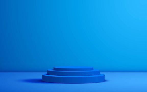 blue podium in the blue studio room