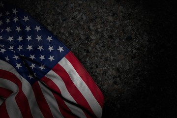 pretty celebration flag 3d illustration. - dark picture of USA flag with big folds on dark asphalt with free place for your text