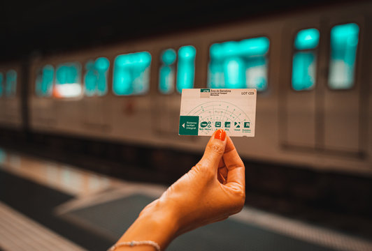 Barcelona, Spain. August 2019: Hand with Public transport card T10 of Barcelona.
