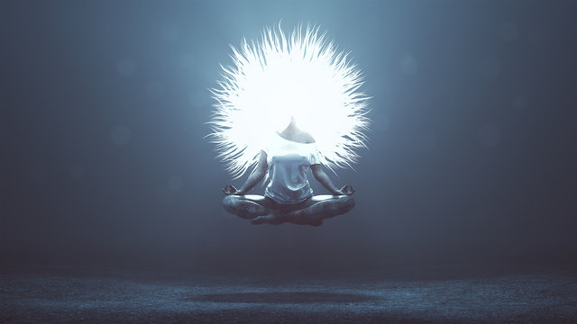 Supernatural Being Angel Floating in a Yoga Pose with Glowing Mad Hair in a Foggy Void and Lens Flare Backlit 3d Illustration 3d render