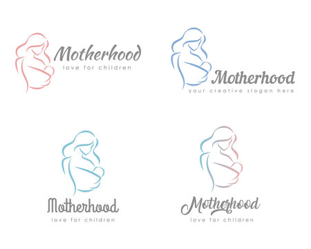 Set of logo with mother and baby. Stylized outline symbol. Motherhood, love, mother care, woman, child, baby sling. Silhouette, icon, logo, sign. Vector illustration