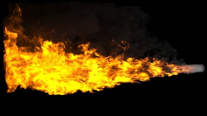 Animated realistic streams of fire with black smoke similar to a shot from a flamethrower, exhaust from a rocket engine or the flame of a fire-breathing dragon. 3D Rendering