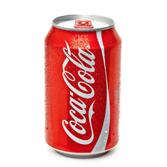 Los Angeles, California - May 17, 2019: Classic Coca-Cola can on White Background. Coca-Cola Company is the most popular market leader in USA