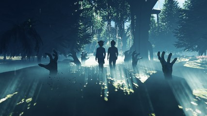 Little children walk through a dark mysterious misty swamp forest landscape. Dead hands reach for them from the ground, steam rises from the swamp, for a Halloween backdrop. 3D Rendering