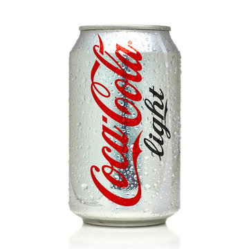 Los Angeles, California - May 17, 2019: Coca-Cola Light can on White Background. Coca-Cola Company is the most popular market leader in USA