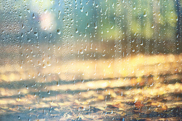 background wet glass drops autumn in the park / view of the landscape in the autumn park from a wet window, the concept of rainy weather on an autumn day Fotobehang