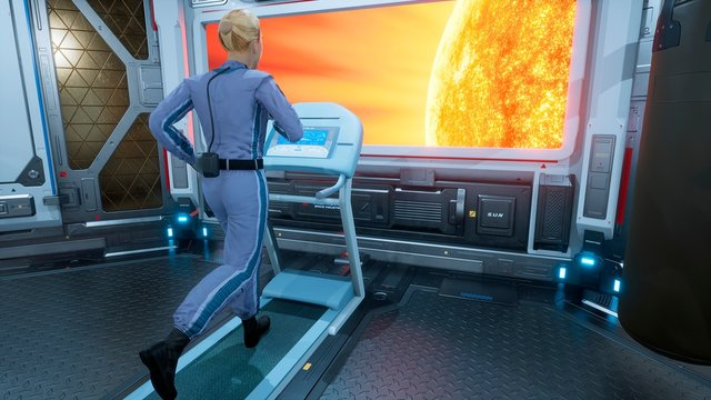 A female astronaut athlete runs on a treadmill in a gym on a futuristic spaceship in front of a porthole overlooking a burning star. 3D Rendering