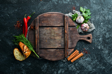 Background of cooking. Fresh vegetables and spices. Top view. Free copy space.