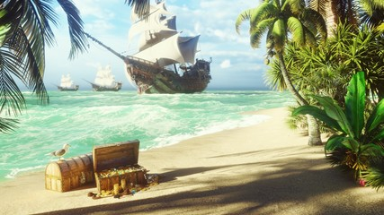 Sand, sea, sky, clouds, palm trees and a clear summer day. Pirate frigates docked near the island. Pirate island and chests of gold. 3D Rendering