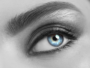Beautiful woman eye close-up. Young Woman Blue one eye macro shoot. Holiday smoky eyes make-up,...