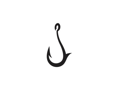 fishing hook logo design concept template. fully editable vector