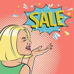 Young beautiful woman points a hand to a sales sign. Smile. Dialog window. Vector illustration in pop art style. Poster.