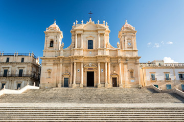 Ancient beautiful baroque cathedral in Noto, Sicily, Italy
