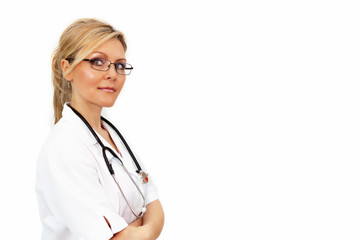 Young blond female doctor on white background