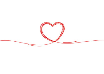 Continuous line heart border on white background for valentines, women, mother day greeting invitation graphic design