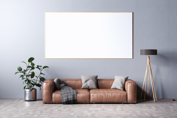 Mockup artwork frame, leather sofa, lamp and a plant in front of gray mockup wall, 3D Rendering, 3D Illustration