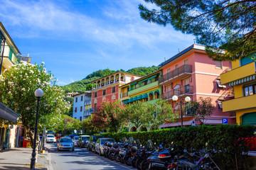 Sunny Cityscape of little street in Moneglia village in Liguria