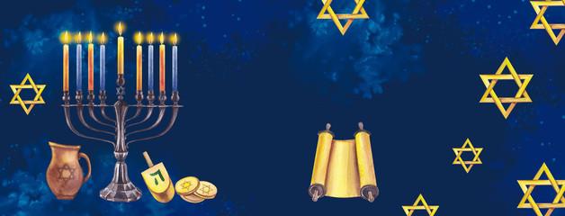 Hanukkah menorah with candles, coins, jug, stars of David on a dark background. Jewish holiday. Traditions of Israel. Watercolor illustration.