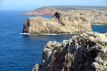 Dramatic and colorful cliffs at Cape St. Vincent (Cabo de Sao Vicente), Alentejo, Algarve, Portugal