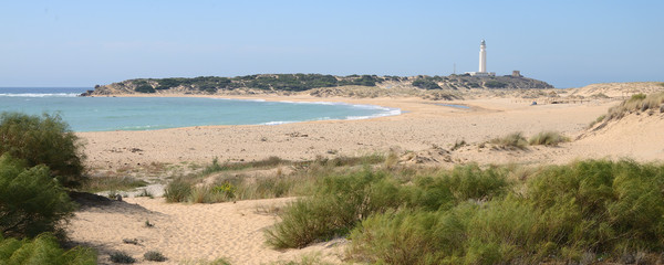 Panoramic view of the beach of Los Canos de Meca, next to the lighthouse of Trafalgar, Spain