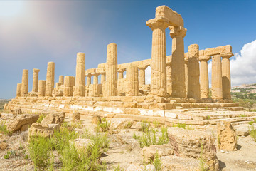 Ancient Greek temple in Mediterranean landscape in Agrigento, Sicily, Italy