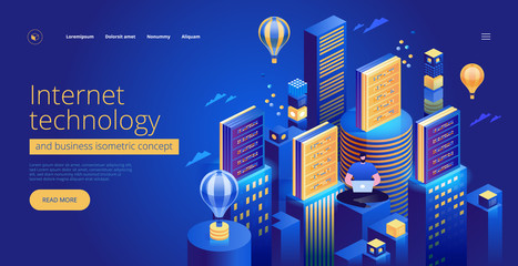 Internet technology and business landing page