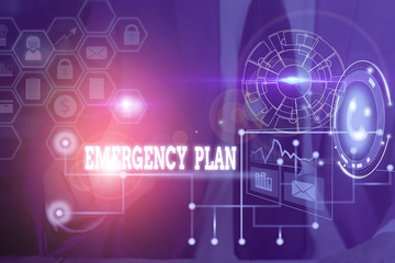 Conceptual hand writing showing Emergency Plan. Concept meaning procedures for handling sudden or unexpected situations Picture photo network scheme with modern smart device