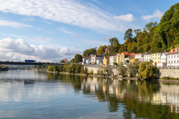 View at a house front on the Danube river in Passau, Bavaria, Germany