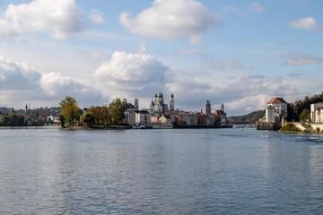 Danube, Inn and Ilz rivers in Passau, Bavaria, Germany in autumn