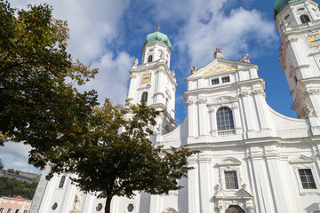 View at St. Stephen's Cathedral (Dom St. Stephan) in Passau, Bavaria, Germany