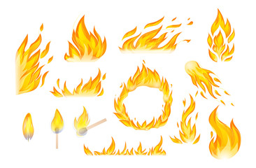 Flames red and orange hot flaming heat explosion cartoon