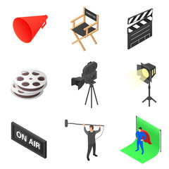 Set of icons on the theme of cinema. Film production and equipment for filming.