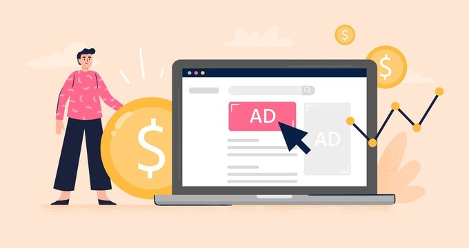 Pay Per Click or Display advertising concept. Web developer set advertising to gain more money to the business. Flat vector illustration. Good for banners, ads, landing pages or articles.