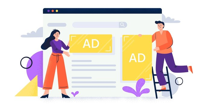 Online advertising. People set display advertisements and banners to the webpage. Flat vector illustration.