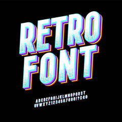 Original typeface. Retro Font 90's, 80's with colorful layers and VHS effect. Vector abc alphabet.