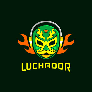 mexico mask lucadhor with fire headset  logo design