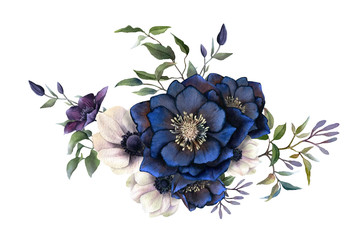 Picturesque arrangement of dark hellebores, anemones and clematises branches hand drawn in watercolor isolated on white background.Watercolor illustration.Ideal for creating invitations, wedding cards