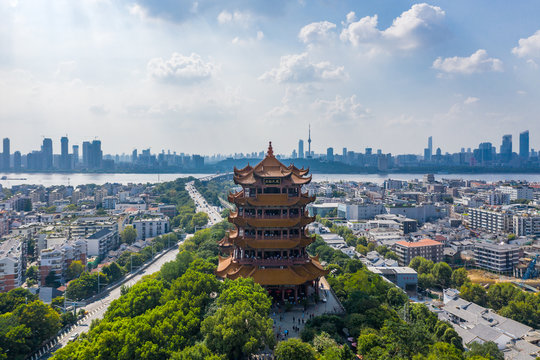 The yellow crane tower , located on snake hill in Wuhan, is one of the three famous towers south of yangtze river,China.