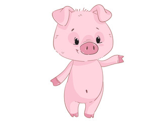 Cute pig cartoon clipart isolated on white background