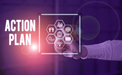Text sign showing Action Plan. Business photo text detailed plan outlining actions needed to reach goals or vision Picture photo system network scheme modern technology smart device