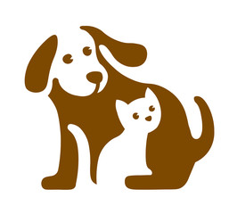 Vector image of dog and cat logo on white