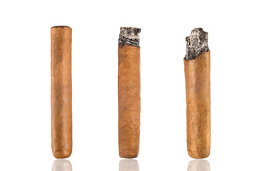 Set of cuban cigars, on a white isolated background.