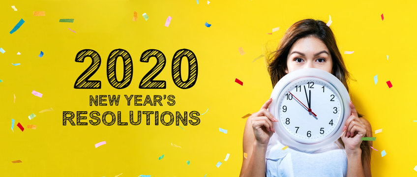 2020 New Years Resolutions with young woman holding a clock showing nearly 12