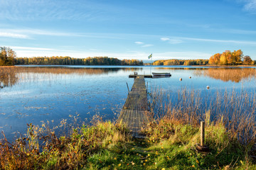 Lake in the countryside of Ostergotland during autumn in Sweden