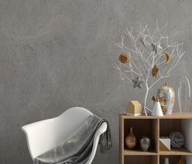 Modern Christmas interior with credenza, Scandinavian style. Wall mock up. 3D illustration